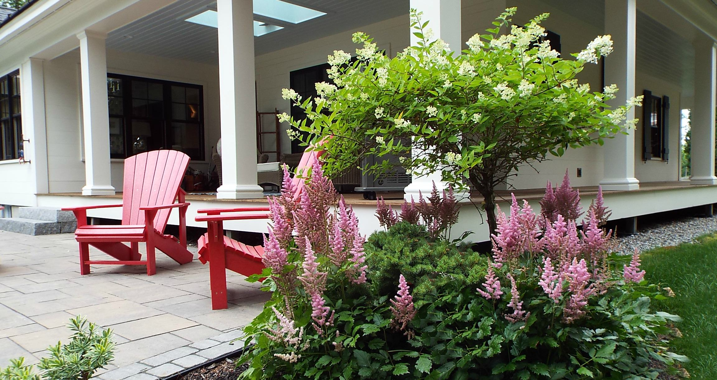 red chairs and plants